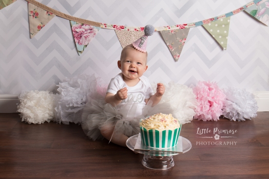 Pink and floral cake smash, Cheshire baby photographer