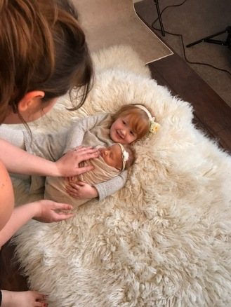 Newborn photography Brereton behind the scenes with sisters
