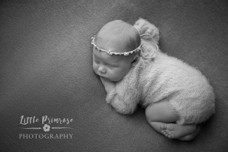 Tushi up with fur romper and pearl halo - newborn